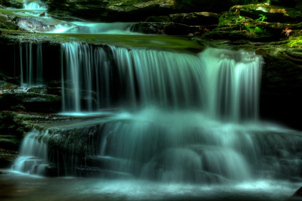 A Fine Art Photograph of a Large Waterfall of Ricketts Glen by Michael Pucciarelli