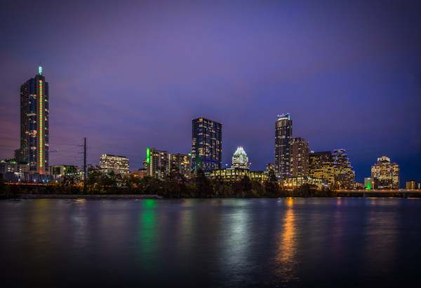 Austin Skyline at Night Fine Art Photograph by Robert Lott