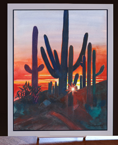 "Sunset at Dove Mountain 8"" x 10"" Ceramic Tile"