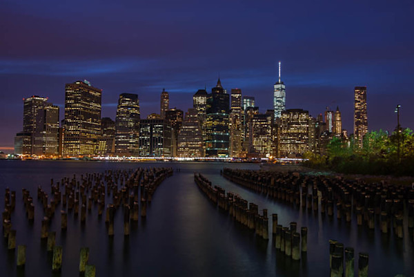 Pilings overlooking Manhattan