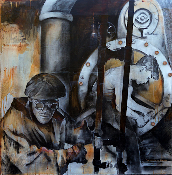 Mixed Media of Charcoal, Acrylic and Silver Leaf Painting by Artist Patti Hricinak-Sheets at Prophetics Gallery.