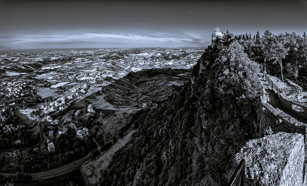 Tower and Valley - San Marino - Italy B&W