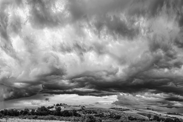 Storm Clouds and Farms - Montalcino - Italy B&W