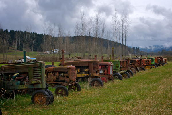 A row of tractors in Creswell, Oregon.