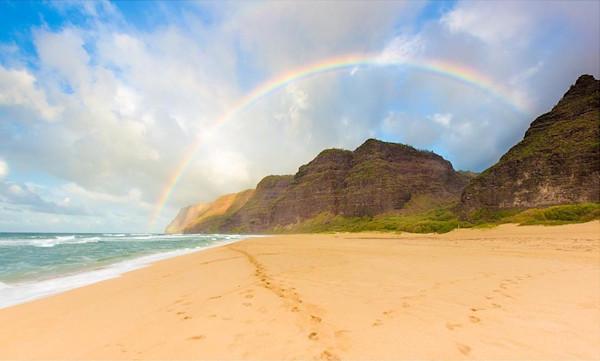 Rainbow over Napali Coast at Polihale Beach | Kauai Art Photography, Hawaii