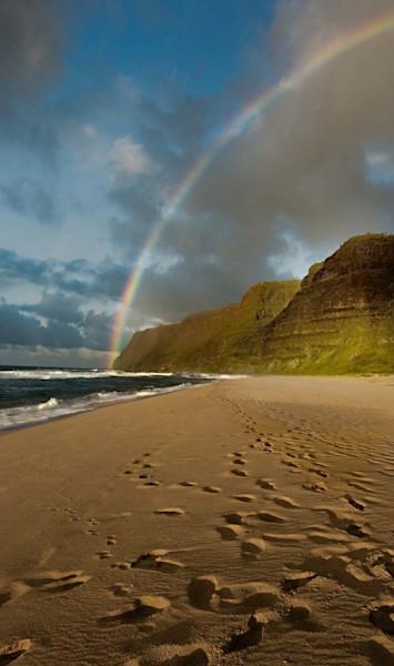 Rainbow over Napali Coast at Polihale Beach | Kauai Fine Art Photography, Kauai