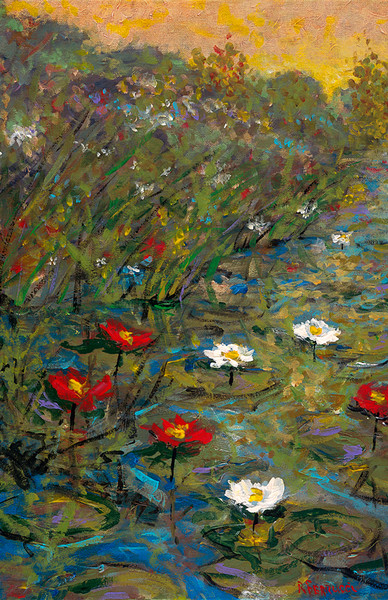 Lillies in a Pond