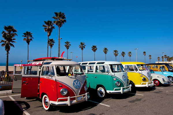 Volksvagen busses and southern california car show.