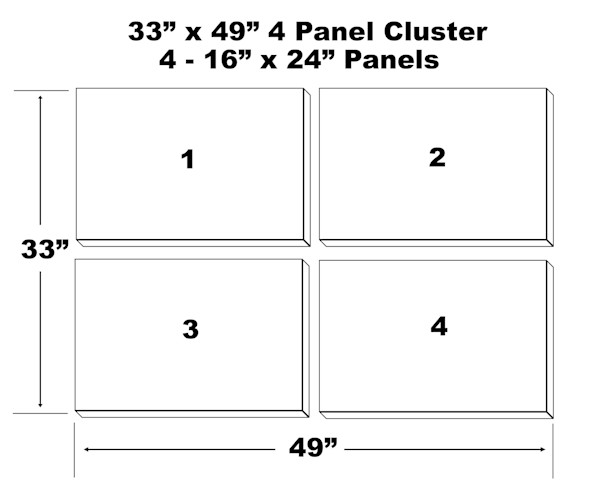 "33""x49"" 4 Panel Canvas Cluster - 4 - 16""x24"" Panels"