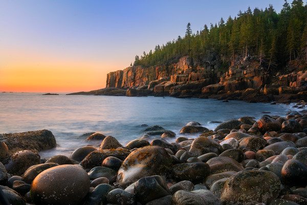 Fine Art prints of Acadia National Park Maine/Otter Cliffs at sunrise from Boulder Beach/Spectacular nature seascapes for home decor