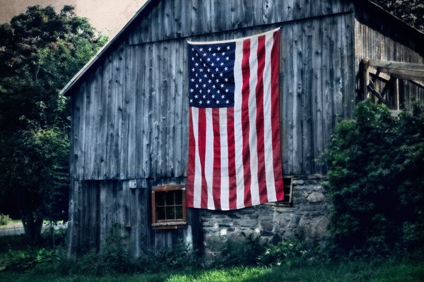 Vintage barn art/Americana fine art prints/American flag on an old rustic country barn