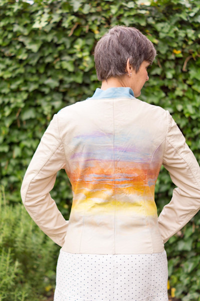 Hand Painted Italian Leather Jacket by Prophetic Artist Rebecca Siccama from Barendrecht, Netherlands at Prophetics Gallery.