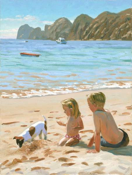 Dog and Kids on Beach in Cabo