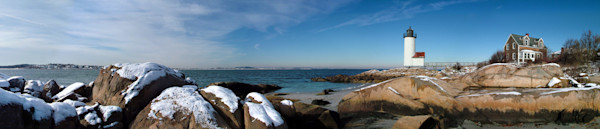 annisquam lighthouse beach snow seascape panorama