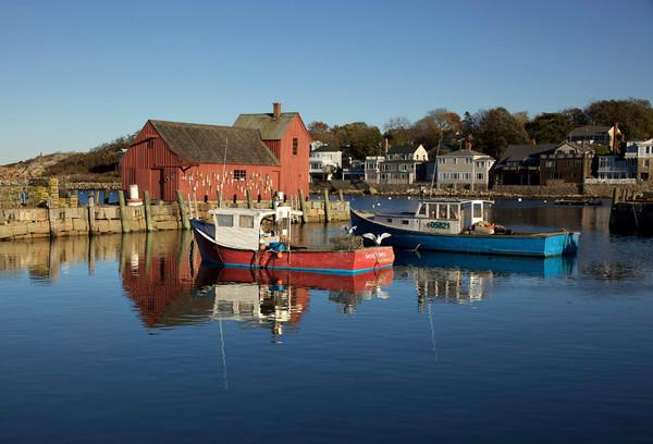 gulls on boat rockport harbor motif #1