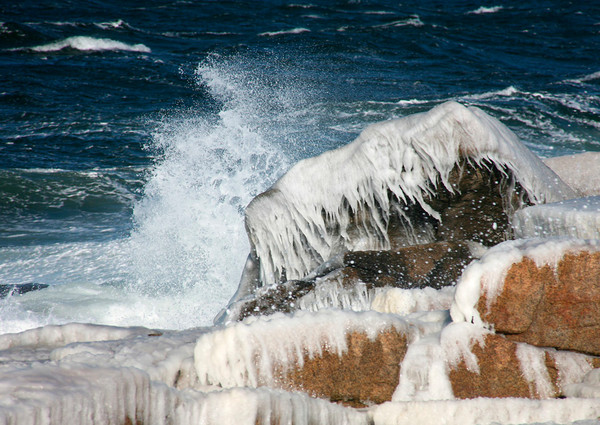 ice rocks storm waves seascape rockport