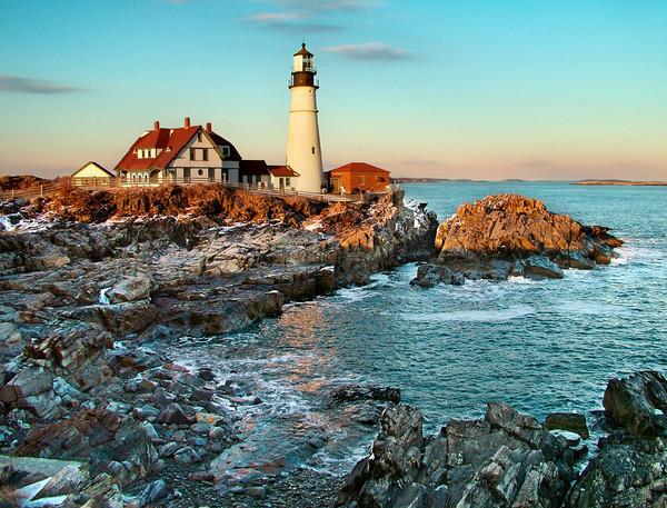portland headlight lighthouse sunset maine seascape