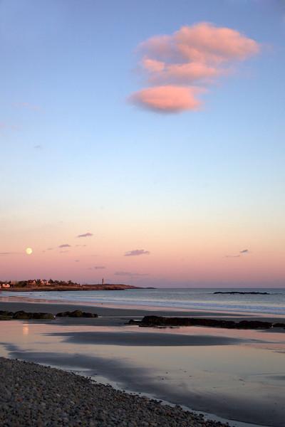 pink cloud full moon lighthouse beach rockport