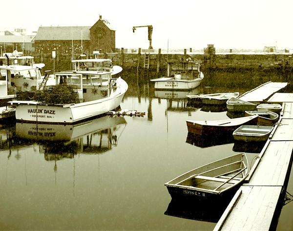snowing rockport harbor motif #1 fishing boats sepia tone
