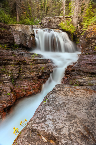 A Stunning hidden gorge waterfall within Glacier Park/Fine Art photography prints