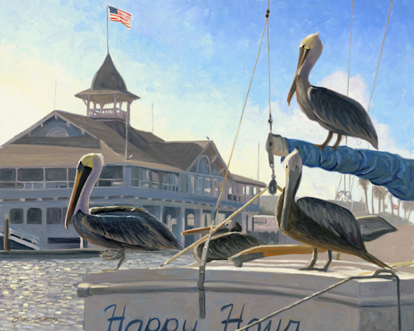 Pelicans on a boat in front of Balboa Pavilion