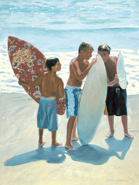 Boys with Skimboards on Beach
