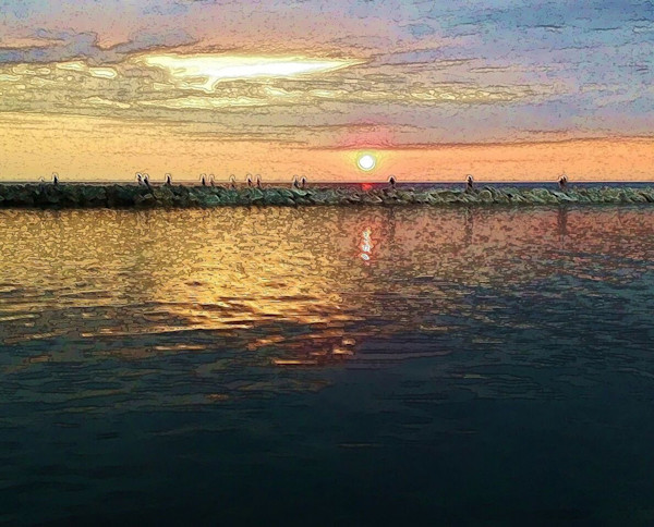 Sunrise and Sunset art photographs and paintings for sale.