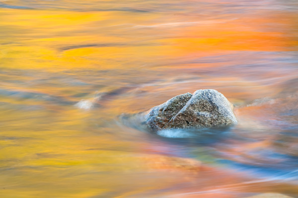 Spectacular reflective autumn color fine art prints from New Hampshire's Kancamagus Highway/Abstract reflections off the scenic Swift River by artist Tom Schoeller
