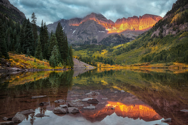 Alpenglow on Aspen Colorado's Maroon Bells/A creative landscape fine art photograph of the iconic Rocky Mountain wilderness