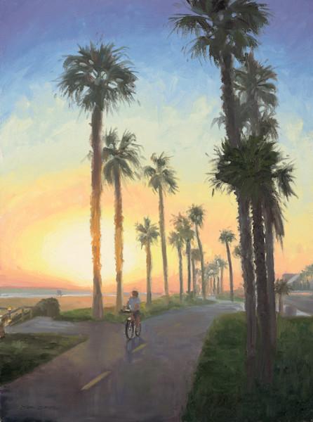 Huntington Beach Bike Path at Sunset