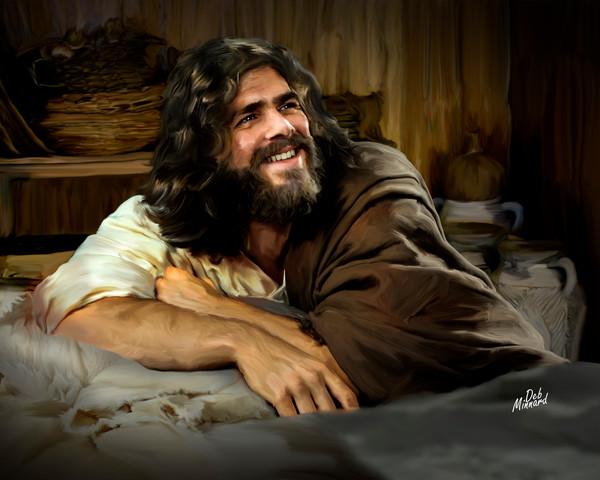 Joyous Jesus reclining at home