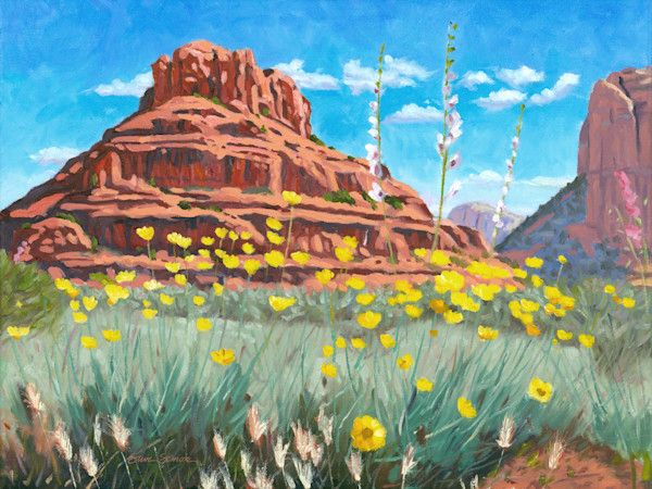 Bell Rock with desert marigolds