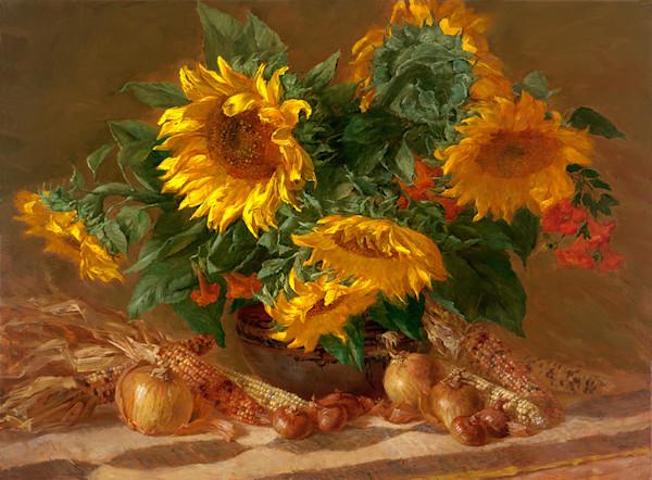 Sunflowers and Indian Corn, Joe Anna Arnett