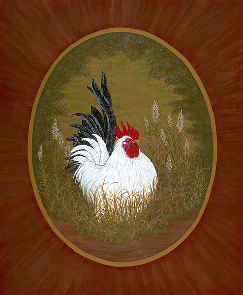 Rooster in the Grass