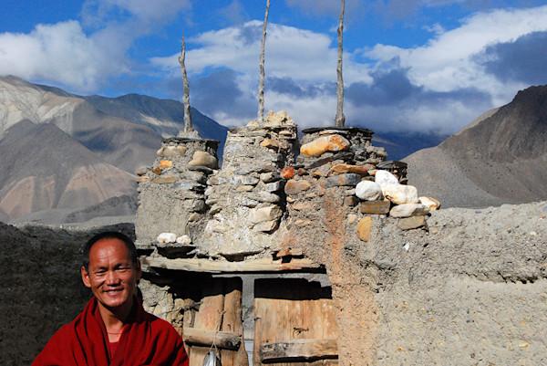 Monk Against Tibet Landscape