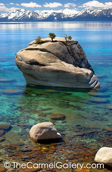 Classic photo of Bonsai Rock no the east shore of Lake Tahoe