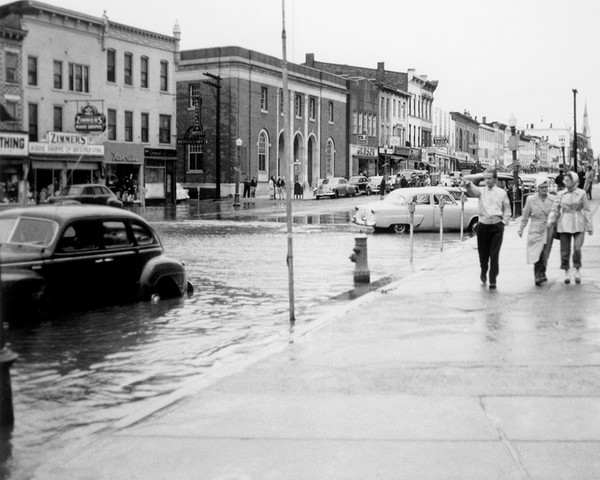 Main Street Looking South During The 1955 Flood
