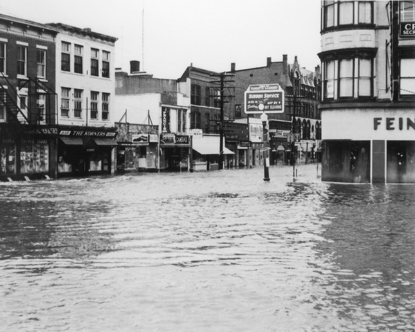 Corner of White & Main During The 1955 Flood