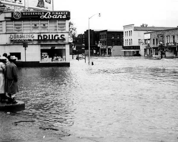 Main Street Looking North During The 1955 Flood