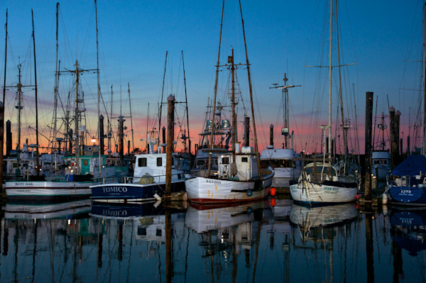 Fishing boats at Sunset in Charleston, Oregon.