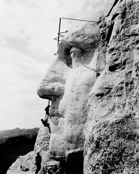 Workmen on Mount Rushmore