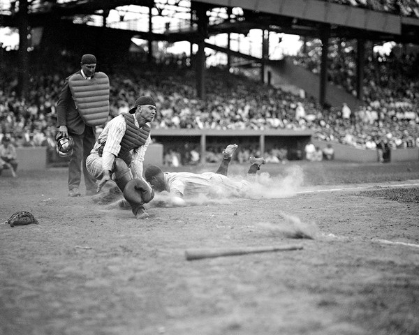 Yankees Lou Gehrig Slides Into Home Plate