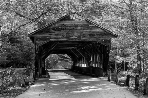 Stunning B&W Fine Art print of New Hampshire's iconic Albany Covered bridge