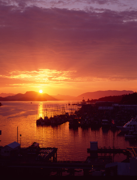 Sitka waterfront at sunset, Sitka, Alaska