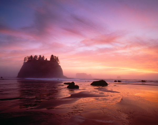 Sea Stacks at sunset, 2nd Beach, Olympic National Park, WA