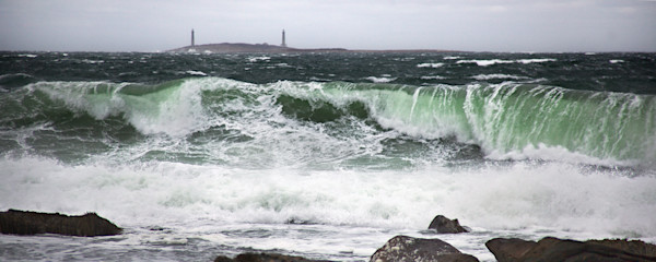 Lighthouse Twinlights Thatchers Island Green Wave Storm Panorama