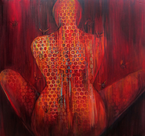figure, nude, bees, painting, hive