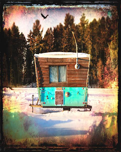 Ice shack and eagle