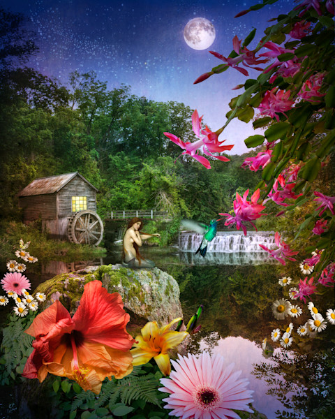 Old mill, mermaid, hummingbird
