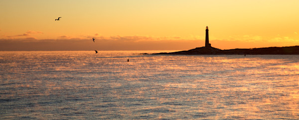 Lighthouse Sea Smoke Sunrise Seagulls Twinlights Thatchers Island Panorama
